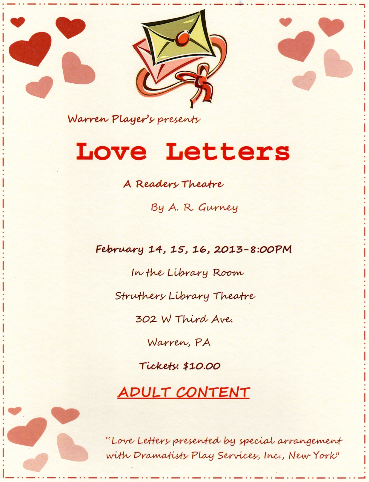 Tickets For Love Letters Now Available